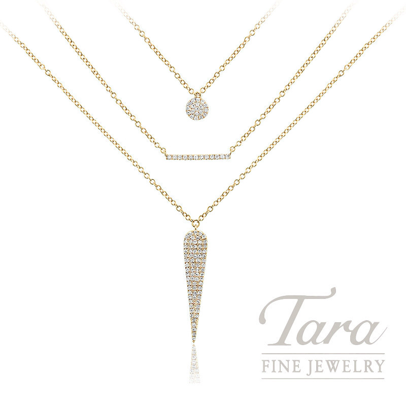 """18K Yellow Gold Diamond Layer Necklace, 16/22"""" Chains, 5.6G, .24TDW"""