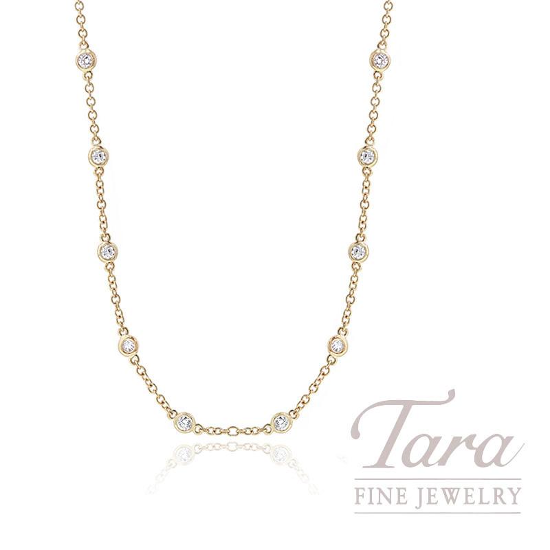 "18k Yellow Gold Diamond Chain Necklace, 16/18/20"" Chain, 4.3G, .41TDW"