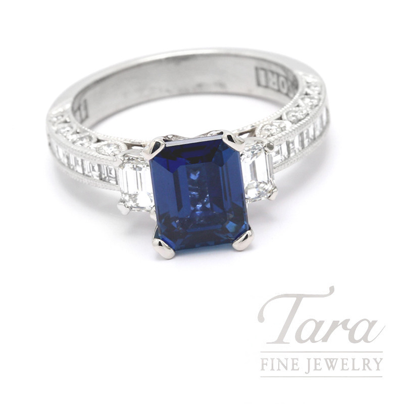 18K White Gold Blue Sapphire and Diamond Ring, 12 Baguette, 2 Emerald Cut and 18 Round Diamonds 1.15TDW, 2.45CT Emerald Cut Blue Sapphire, 6.8 Grams