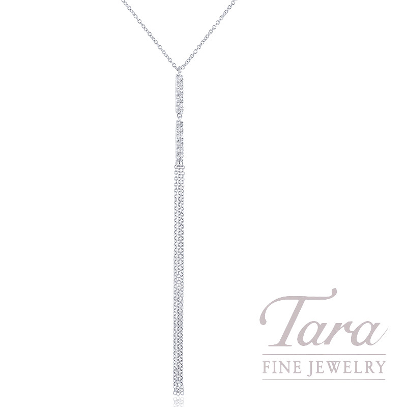 "18K White Gold Pave Diamond Dangle Necklace, 16/17/18"" Chain, 2.7G, .10TDW"
