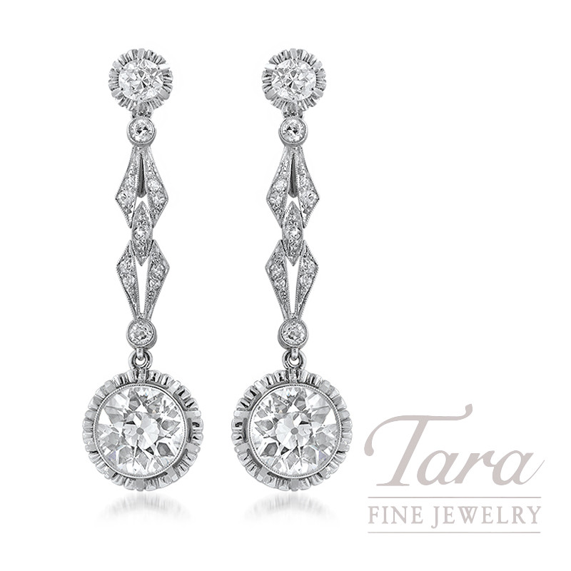 Platinum and 18k Yellow Gold European Cut Diamond Earrings, 4.30TDW