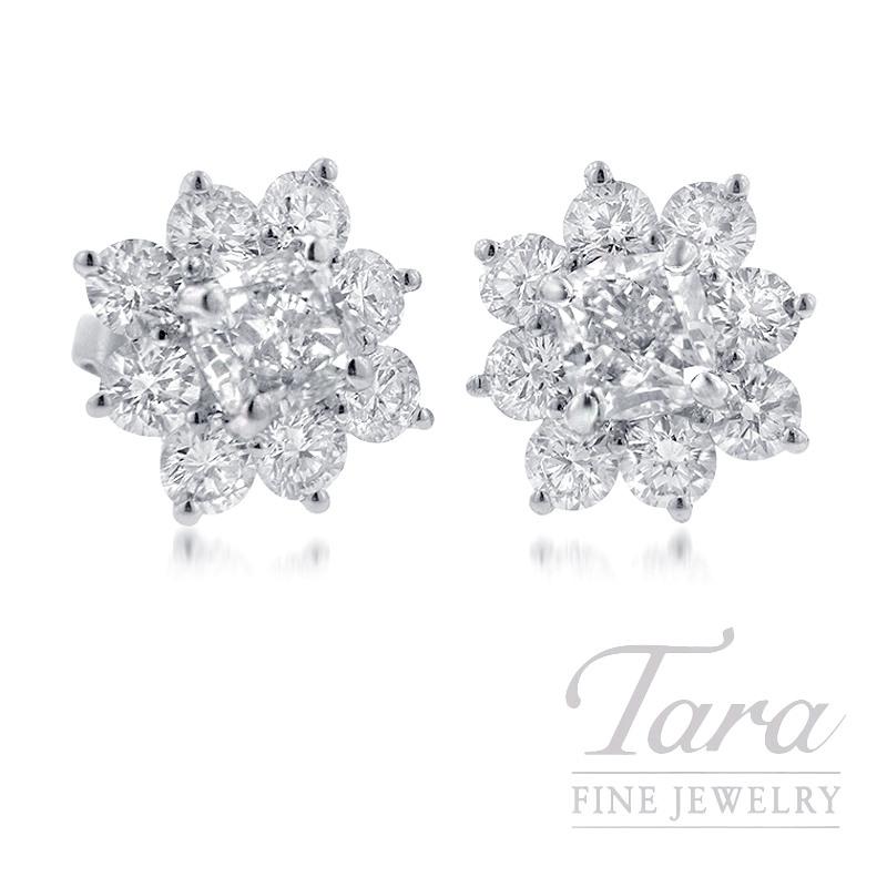 Forevermark 18K White Gold Flower Diamond Earrings, 3.04TDW Center, 2.24TDW