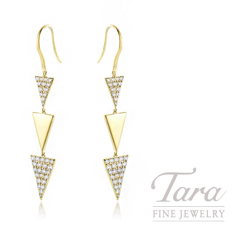 18K Yellow Gold Triangle Diamond Dangle Earrings, 4.5G, 1.08TDW