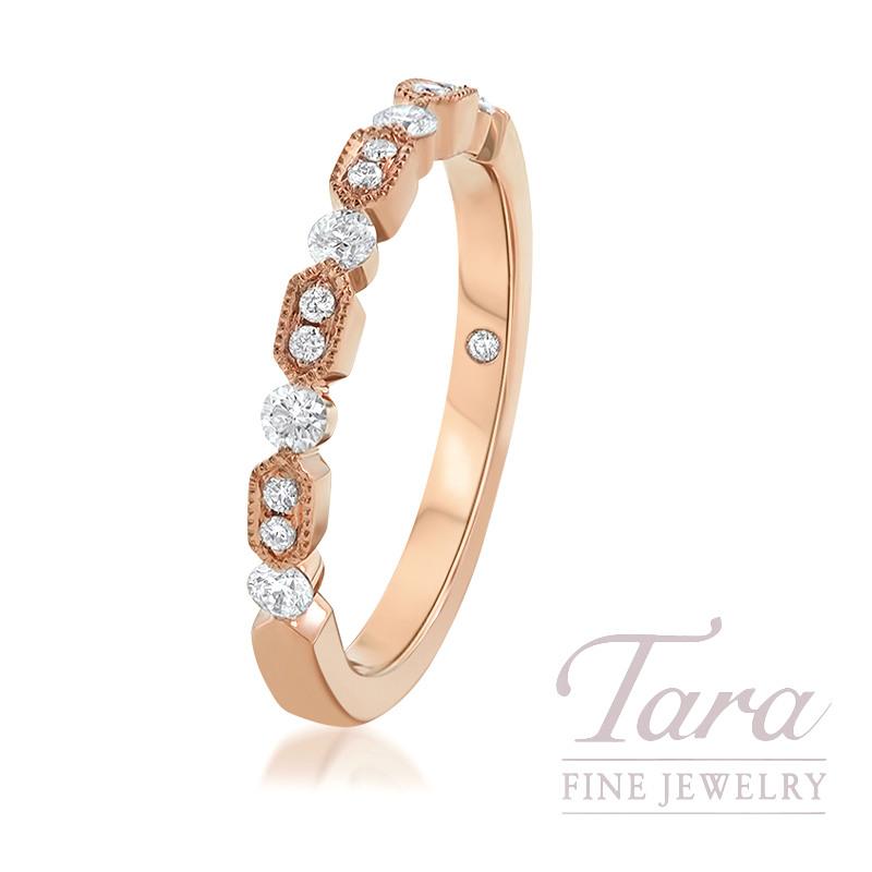 18K Rose Gold Diamond Fashion Ring, 2.9G, .24TDW