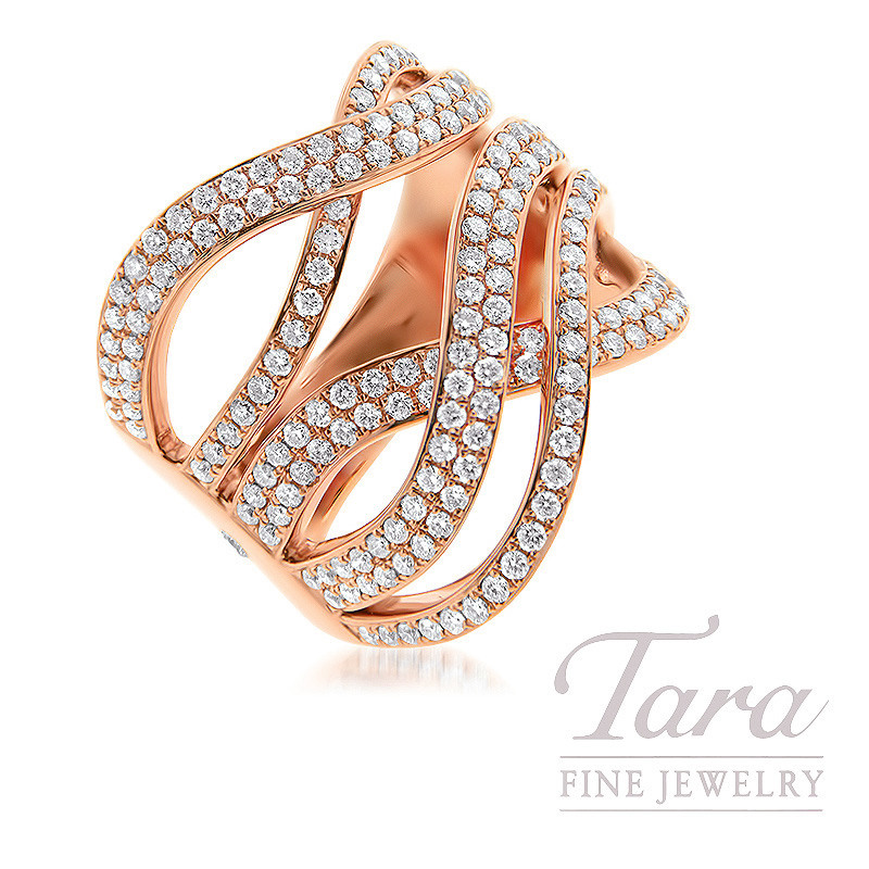 18K Rose Gold Diamond Ring, 11.5G, 1.25TDW