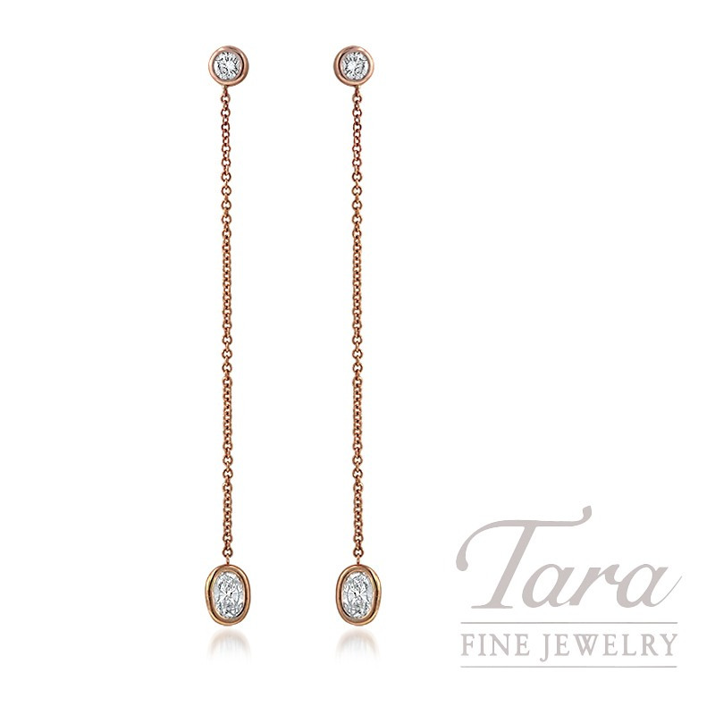 18K Rose Gold Oval-shape Diamond Earrings, 1.7G, .53TW Oval-shape Diamonds, .28TW Round Diamonds