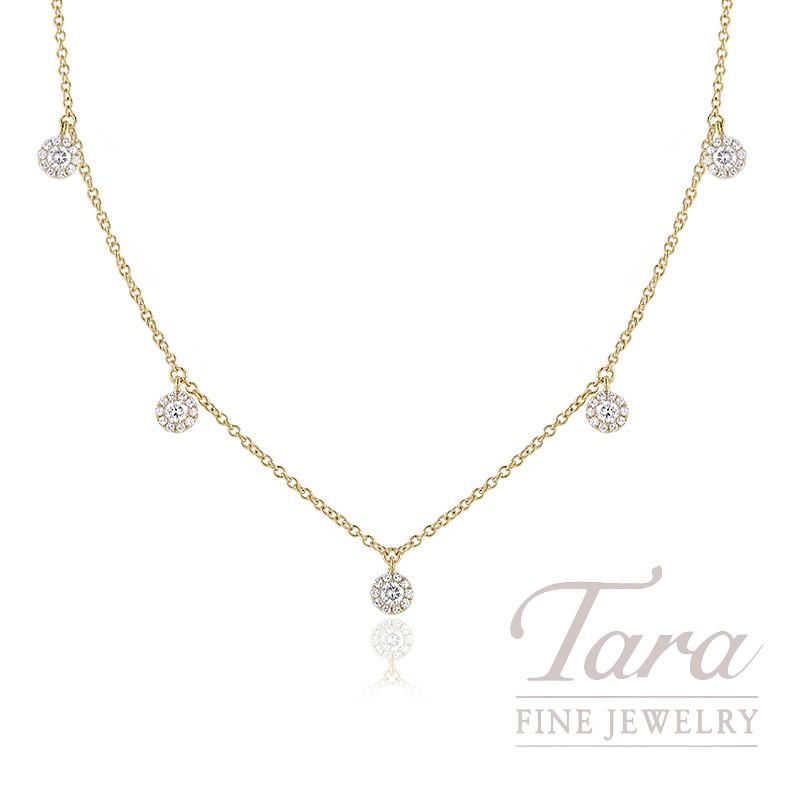 "18K Yellow Gold Diamond Halo Stationary Necklace, 16/17/18"" Chain, 2.7G, .37TDW"