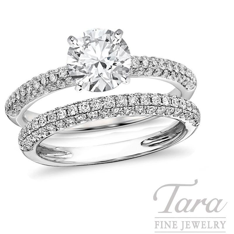 18K White Gold Micro-Pave Diamond Wedding Set, .43TDW (Center Stone Sold Separately)