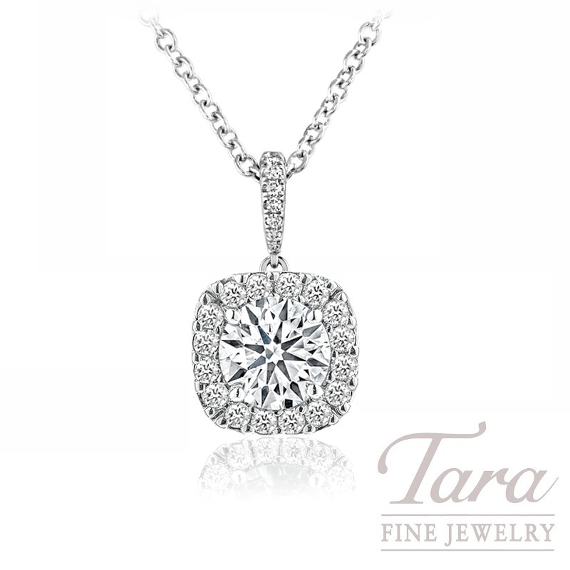 Forevermark 18K White Gold Diamond Halo Pendant, 1.50CT Diamond, 1.03TDW