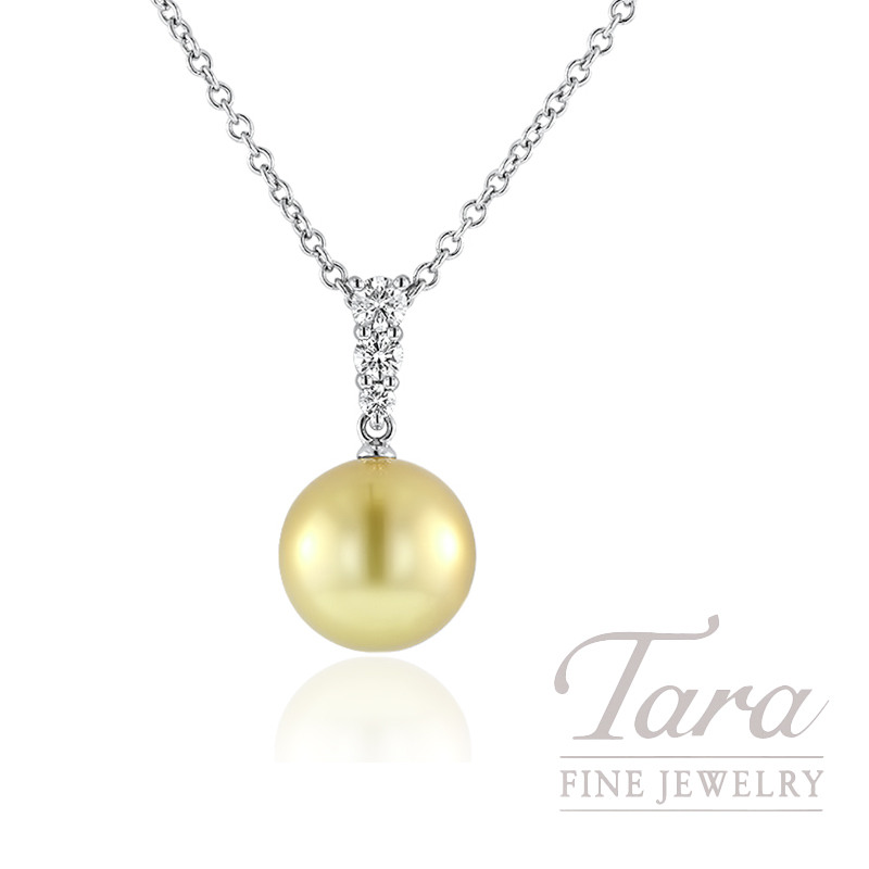 Mikimoto 18k White Gold Golden South Sea Pearl and Diamond Pendant, .25TDW