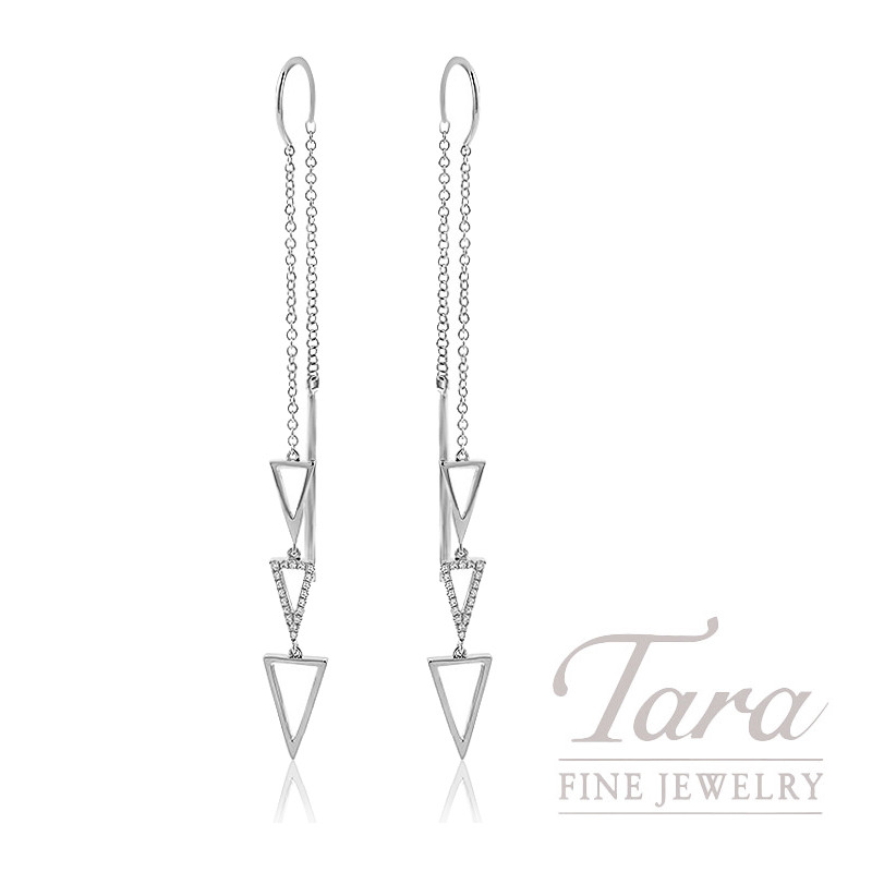 18K White Gold Diamond Triangle Threader Earrings, 2.9G, .15TDW