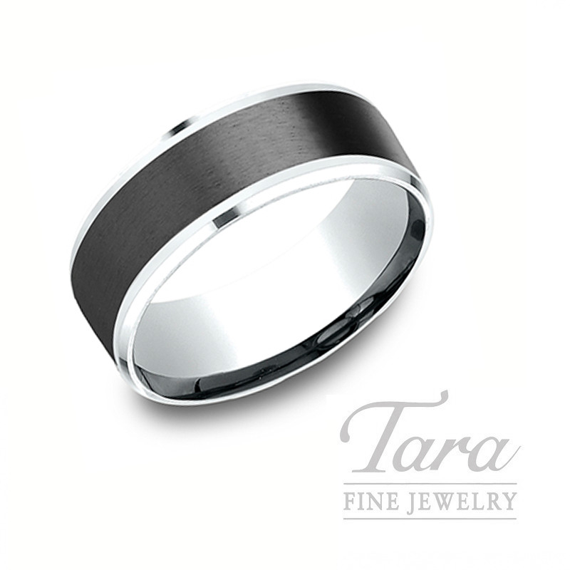 Gentlemen's 18k White Gold and Black Titanium Wedding Band, 11.0G