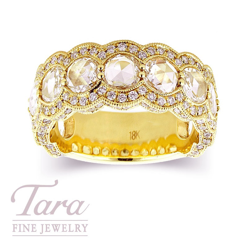 Rose Cut Diamond Band in 18k Yellow Gold 2.05 Rose and .74 Round TDW, 8.6 g
