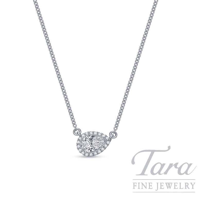 "18K White Gold Pear-shape Diamond Halo Necklace, 18"" Chain, 2.2G, .26CT Pear-shape Diamond, .06TDW"