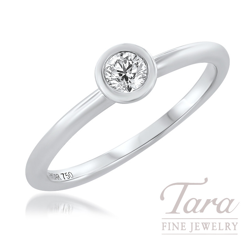 Forevermark 18K White Gold Diamond Bezel Ring, 0.15CT Forevermark Diamond