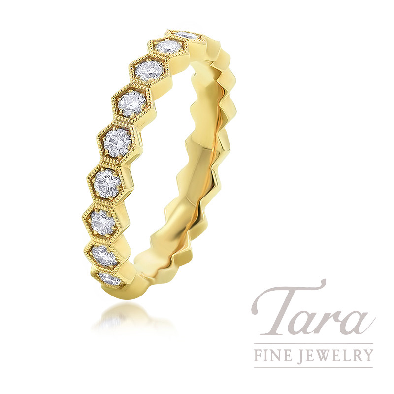 18K Yellow Gold Diamond Stackable Band, .77TDW