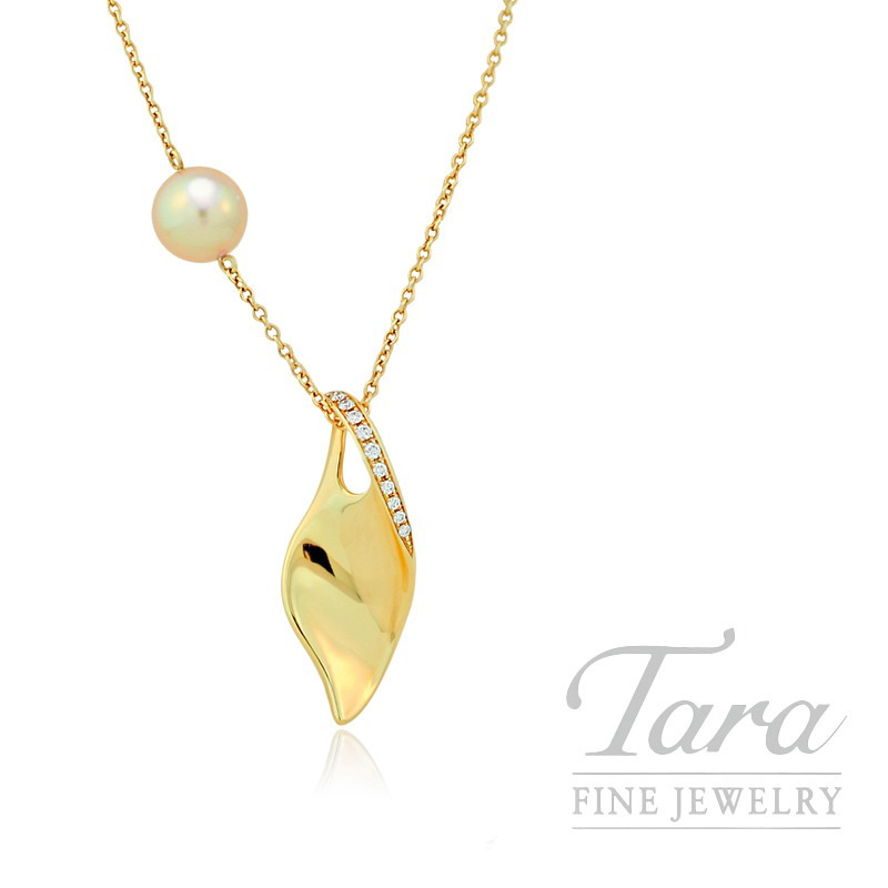 Mikimoto Golden South Sea Pearl & Diamond Pendant in 18K Yellow Gold, .14tdw