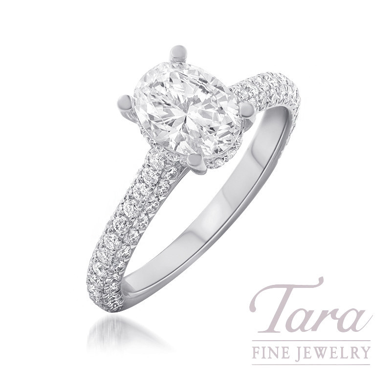 18K White Gold Oval Diamond Pave Engagement Ring (Center Stone Sold Separately) - Click for Available Sizes!