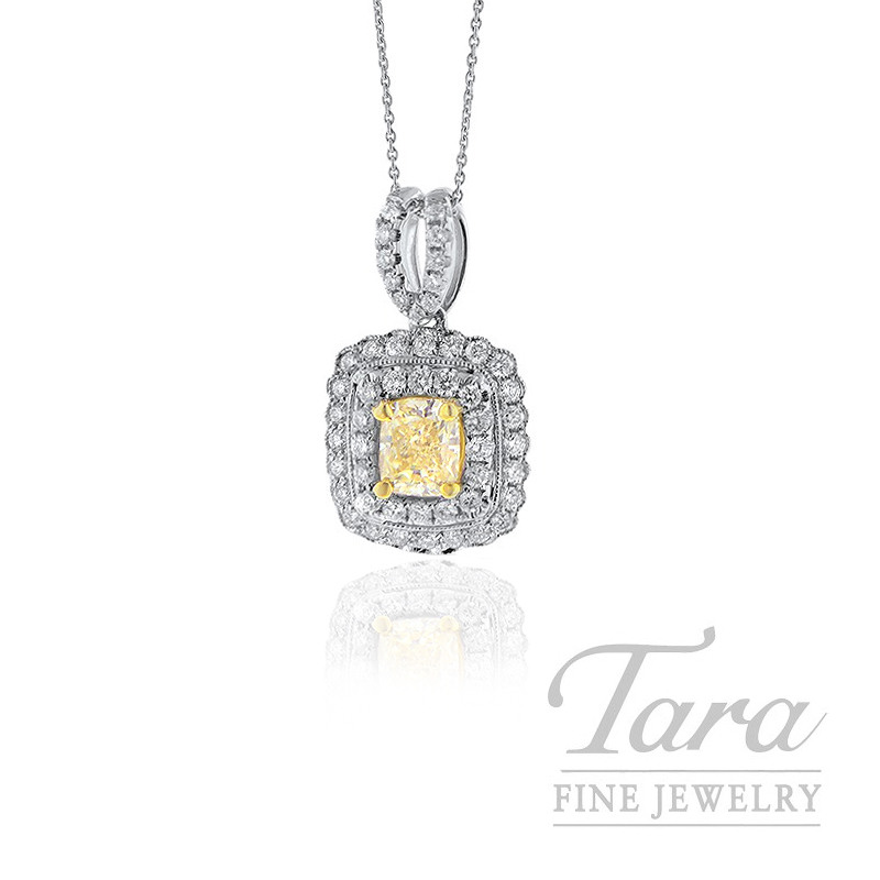 Forevermark 18K Two-Tone Pendant, .77CT Yellow Diamond, .52TDW