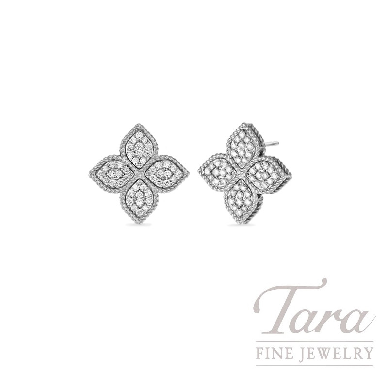 Roberto Coin 18K White Gold Flower Princess Diamond Stud Earrings, .38TDW, Flower Princess Collection