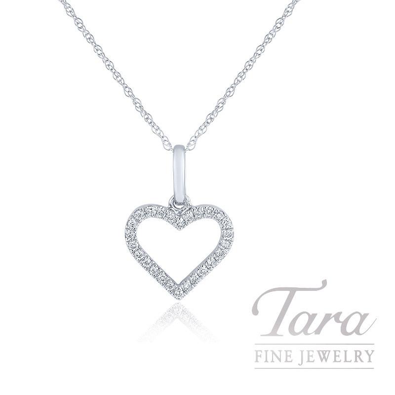 "18K White Gold Diamond Heart Necklace, 18"" Chain, 1.1G, .10TDW"