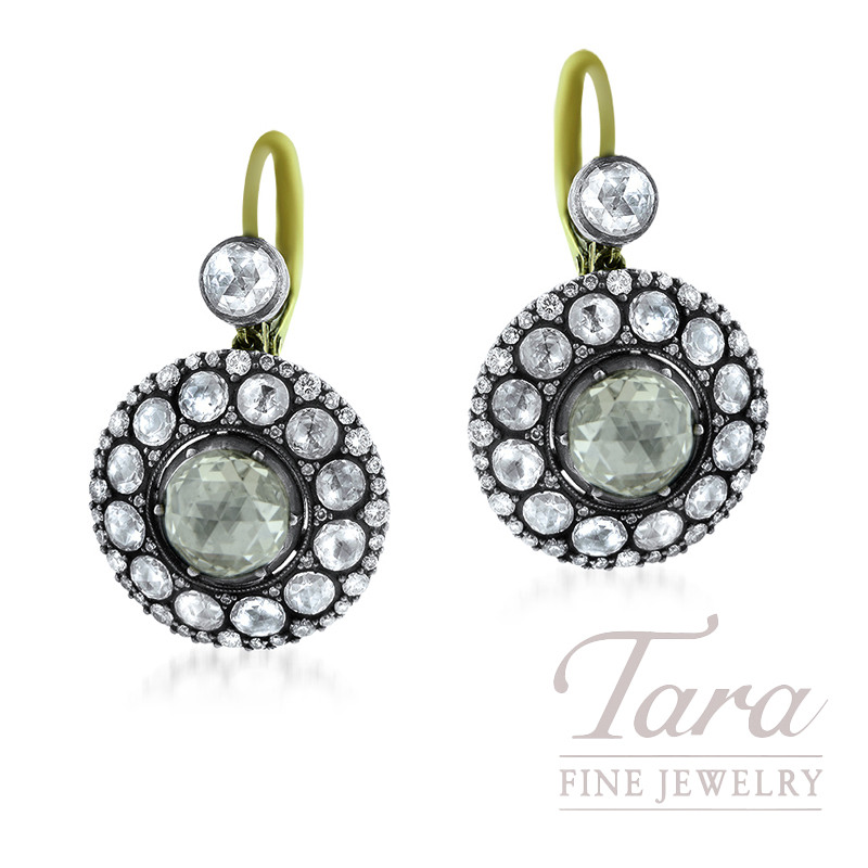 Norman Covan 18K Yellow Gold, White Gold, and Silver Diamond Earrings, 7.07TDW