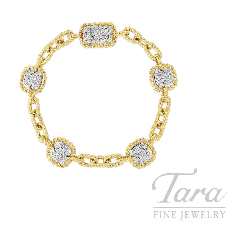 18K Yellow Gold Barocco Square Diamond Station Bracelet 1.30TDW