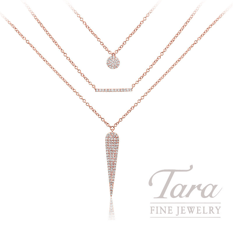 """18K Rose Gold Layered Diamond Necklace, 16/20"""" Chains, 5.5G, .22TDW"""