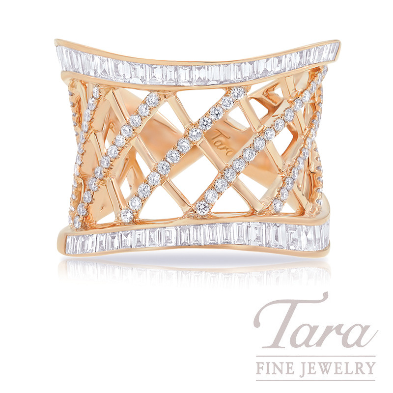18K Rose Gold Baguette Diamond Fashion Ring, 8.6G, 1.80TDW