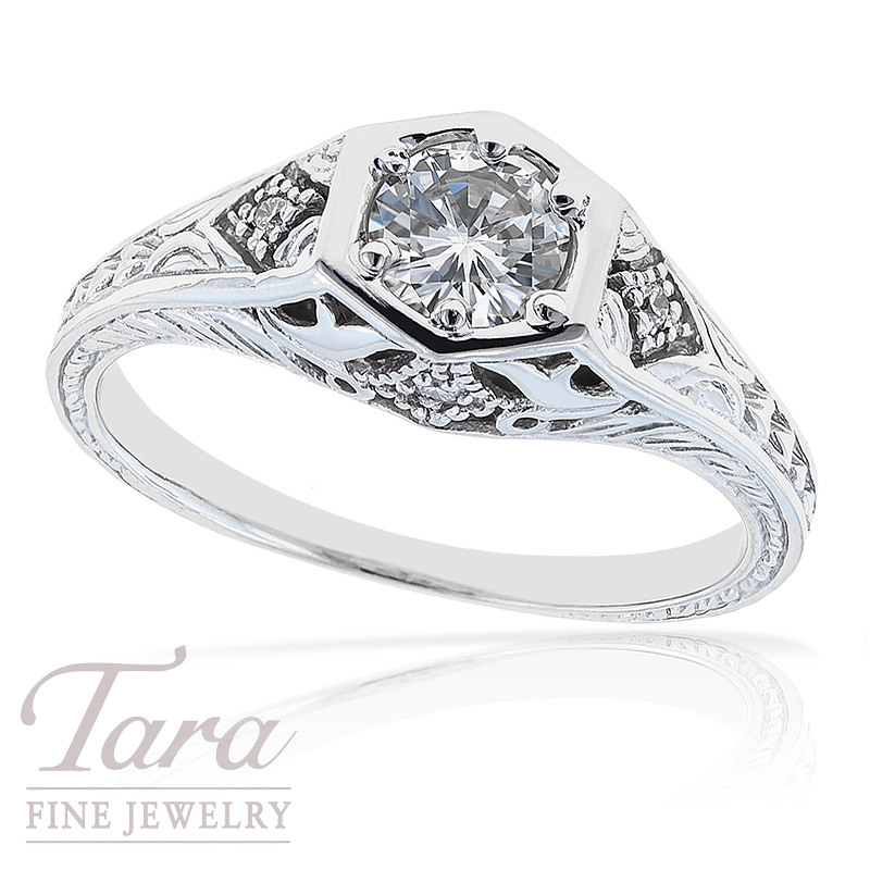 Diamond Engagement Ring in 18k White Gold With .03 TDW and Center Diamond, .46 TDW