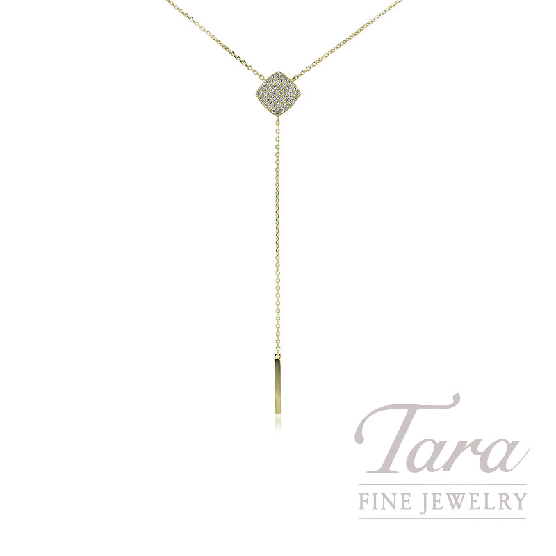 "18K Yellow Gold Diamond Lariat Necklace, 16"" Chain, 3.3G, .26TDW"