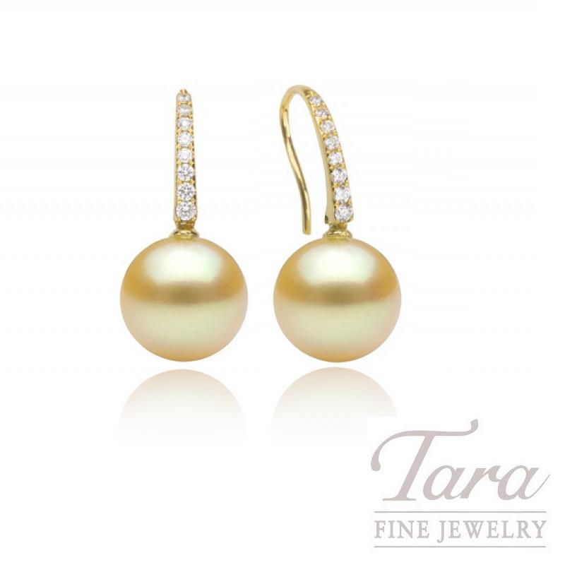 18k Yellow Gold South Sea Golden Pearl & Diamond Earrings, 9.5mm Pearls, .12TDW