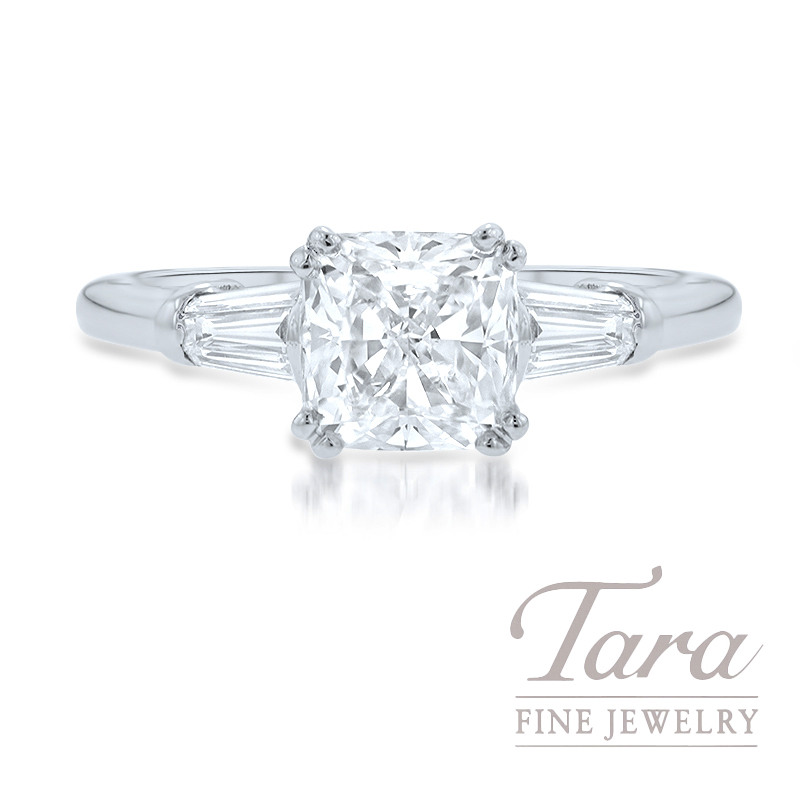 18K White Gold Cushion Diamond Engagement Ring, 1.75CT Cushion Cut Diamond, .37TDW Baguette Diamonds (Center Stone Sold Separately)