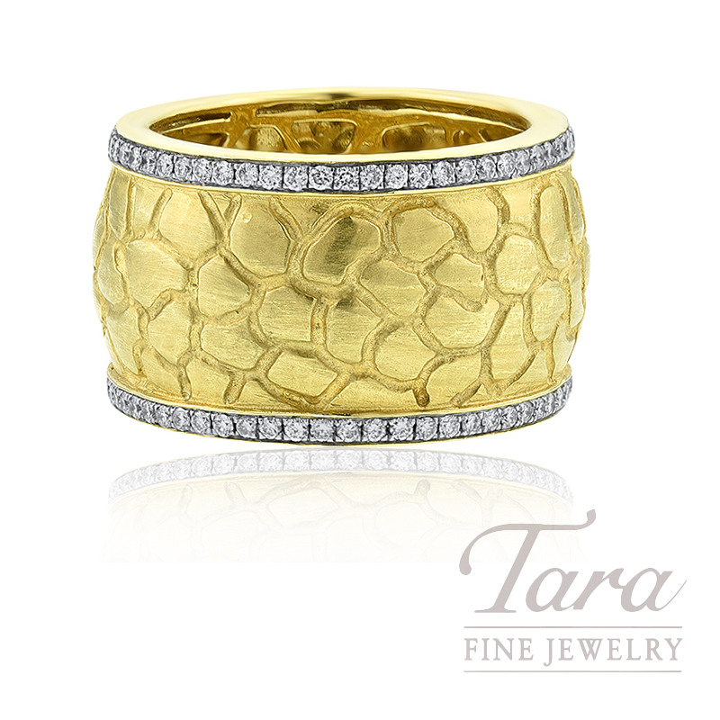 18k Yellow Gold Textured Diamond Band, .32TDW