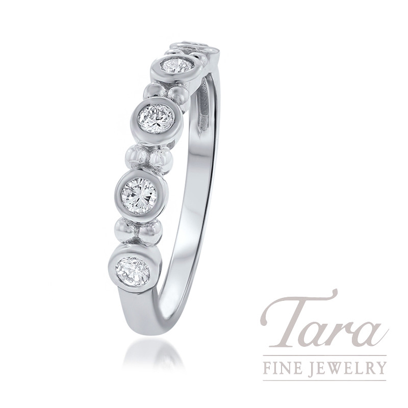18k White Gold Diamond Bezel Stackable Band, .29TDW