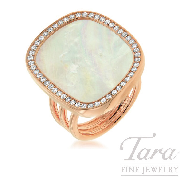 Roberto Coin 18K Rose Gold Mother of Pearl Diamond Ring, 11.95CT Mother of Pearl, .48TDW