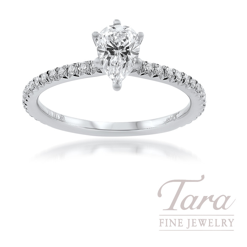 18K White Gold Semi Mount Diamond Engagement Ring 2.3G, 34 Round Diamonds .17TDW (Center Stone Sold Separately)