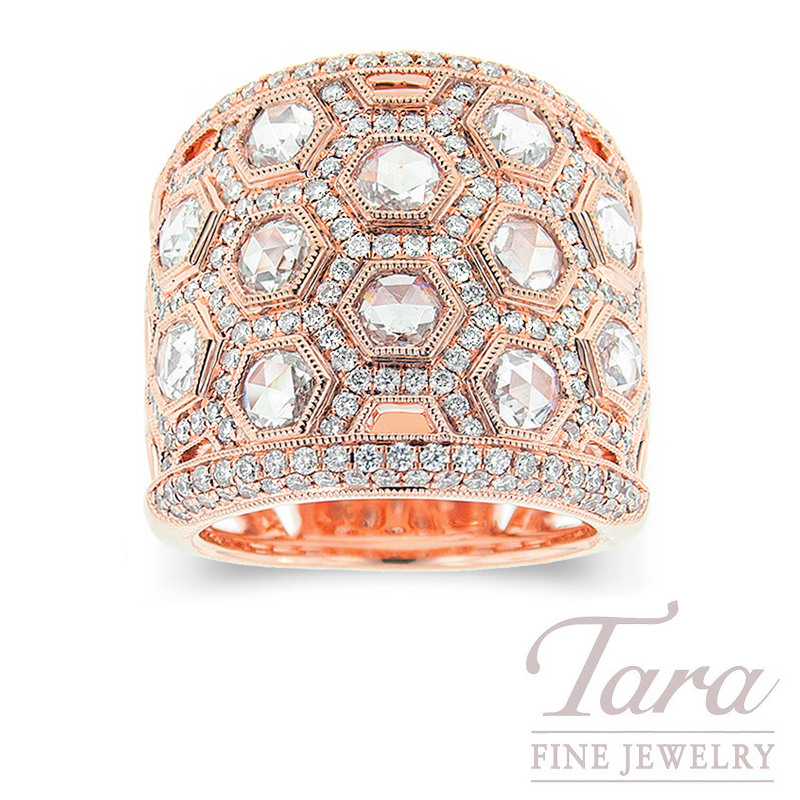 18k Rose Gold Diamond Fashion Ring, 1.60TDW Rose Cut Diamonds, 1.15TDW Round Brilliant Diamonds