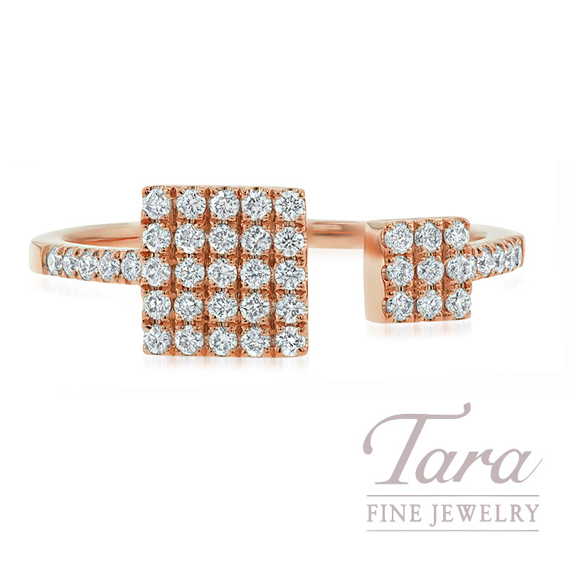 18K Rose Gold Pave Diamond Square Fashion Ring, 2.3G, .30TDW