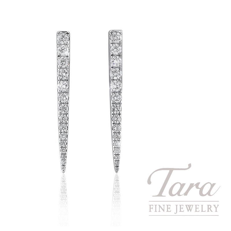 18K White Gold Diamond Point Earrings, 2.6G, .54TDW