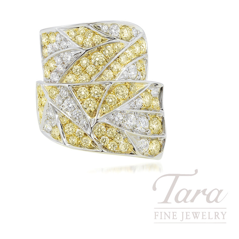 18K Two-Tone Fancy Light Yellow Diamond Fashion Ring, 16.9G, 2.60TDW Fancy Light Yellow Diamonds, 1.21TDW White Diamonds
