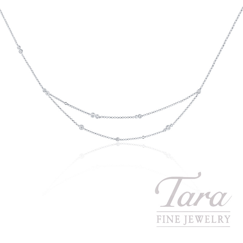 18k White Gold Diamond Bezel Necklace - Click for Available Sizes!