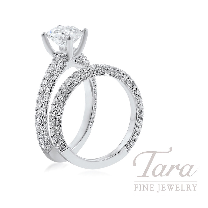 18K White Gold Pave Diamond Wedding Set, 1.16TDW (Center Stone Sold Separately)