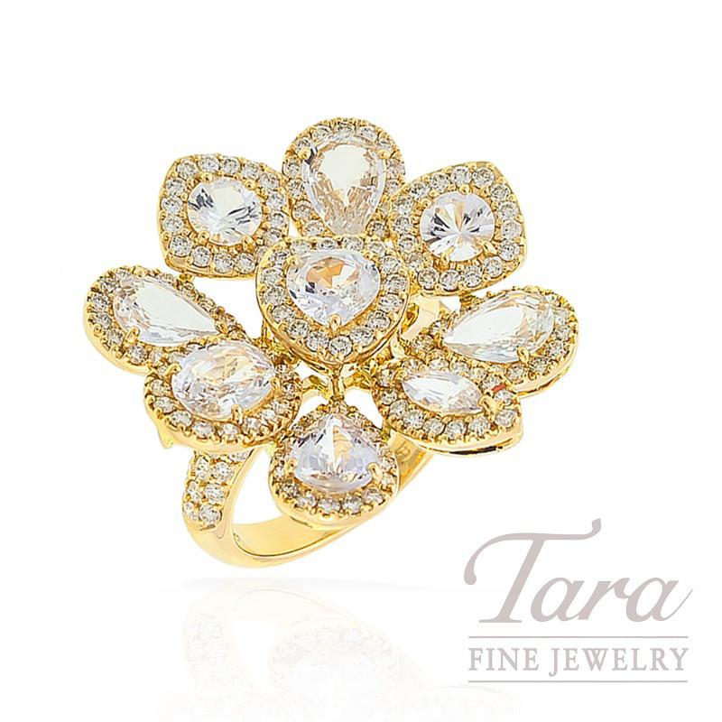 18k Yellow Gold White Sapphire and Diamond Ring, 10.7G, 1.76TDW