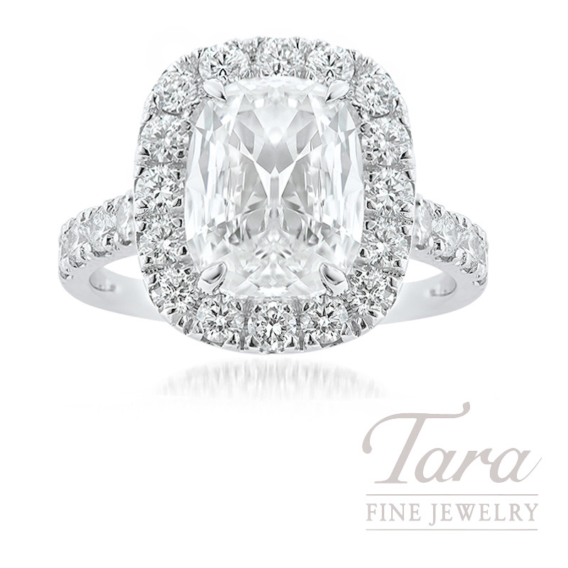 18k White Gold Cushion Brilliant Cut Diamond Halo Engagement Ring, 3.02CT Cushion Brilliant Cut Diamond, 5.8G, 1.26TDW (Center Stone Sold Separately)