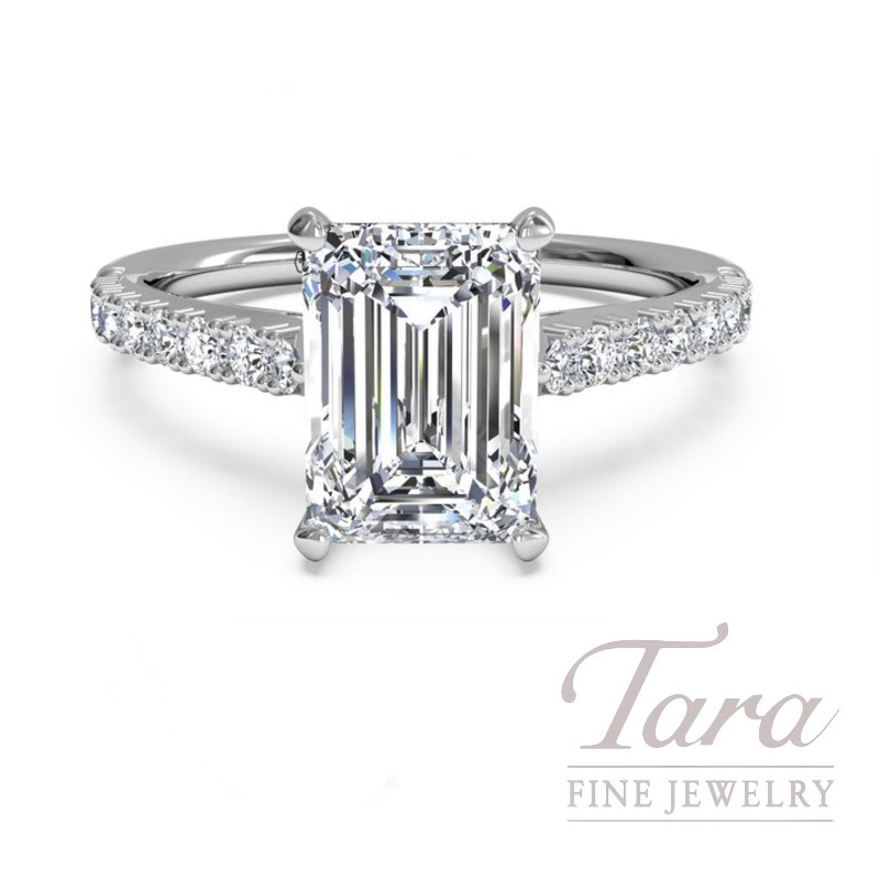 Ritani 18k White Gold Emerald Cut Diamond Engagement Ring 4 1g 24tdw Center Stone Sold Separately Tara Fine Jewelry
