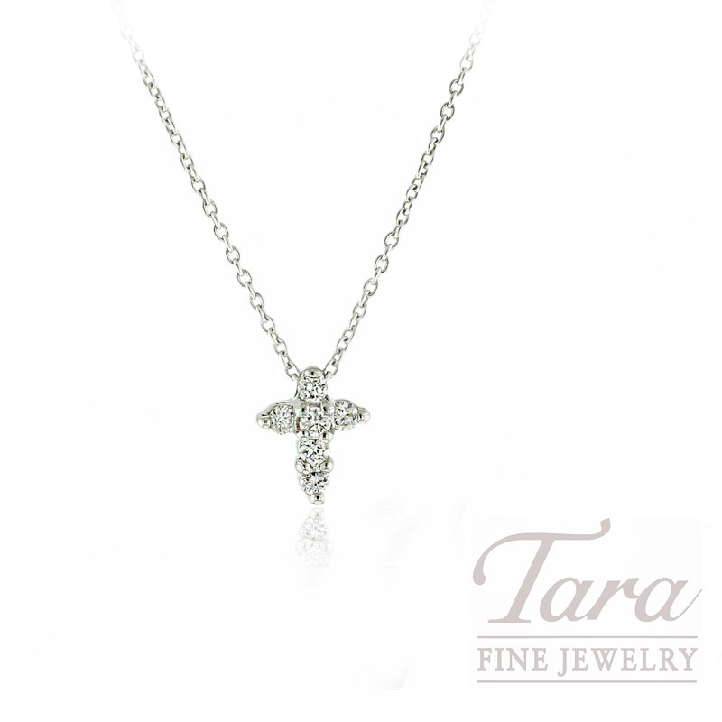 "18K White Gold Roberto Coin Tiny Diamond Cross Necklace, 16/18"" Chain,  2.2G, .20TDW ""Tiny Treasures Collection"""