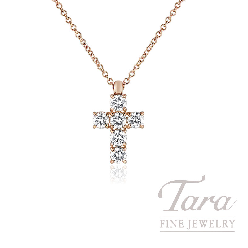 a9791b53e31 18k Rose Gold Diamond Cross Necklace 16 18 Chain 2 06g 52tdw. 8386p 1 Png