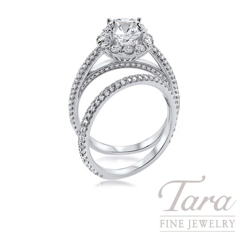 18k White Gold Diamond Halo Wedding Set, 1.08TDW (Center Stone Sold Separately)