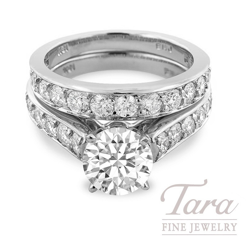 18k White Gold Diamond Wedding Set, 1.71TDW (Center Stone Sold Separately)